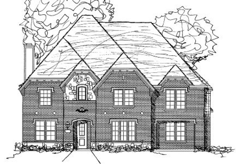European Style House Plan - 4 Beds 3.5 Baths 3885 Sq/Ft Plan #141-306 Exterior - Front Elevation