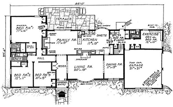 Architectural House Design - Ranch Floor Plan - Main Floor Plan #315-110
