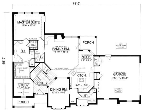 European Floor Plan - Main Floor Plan Plan #40-395