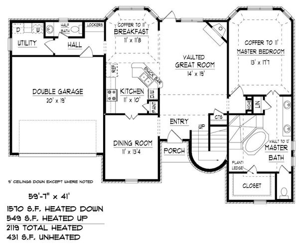 Traditional Floor Plan - Main Floor Plan Plan #424-414
