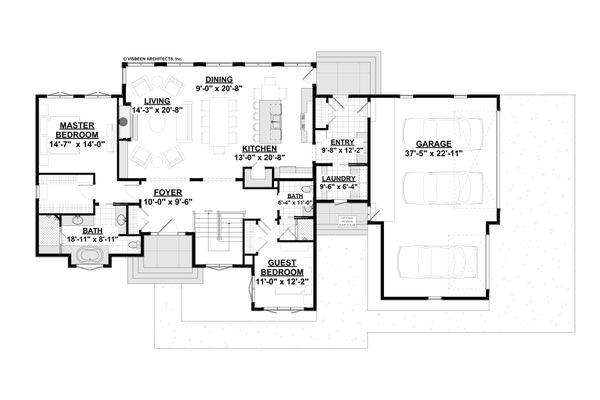 House Design - Ranch Floor Plan - Main Floor Plan #928-348