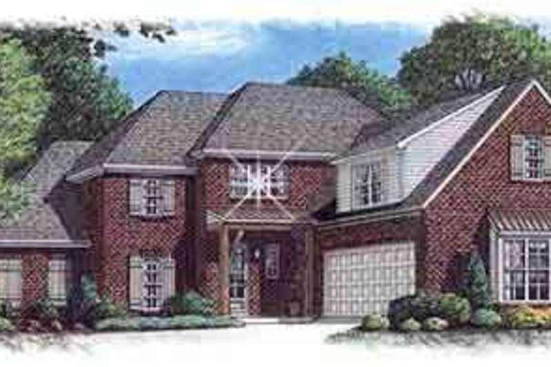 European Style House Plan - 4 Beds 3 Baths 3450 Sq/Ft Plan #15-269 Exterior - Front Elevation