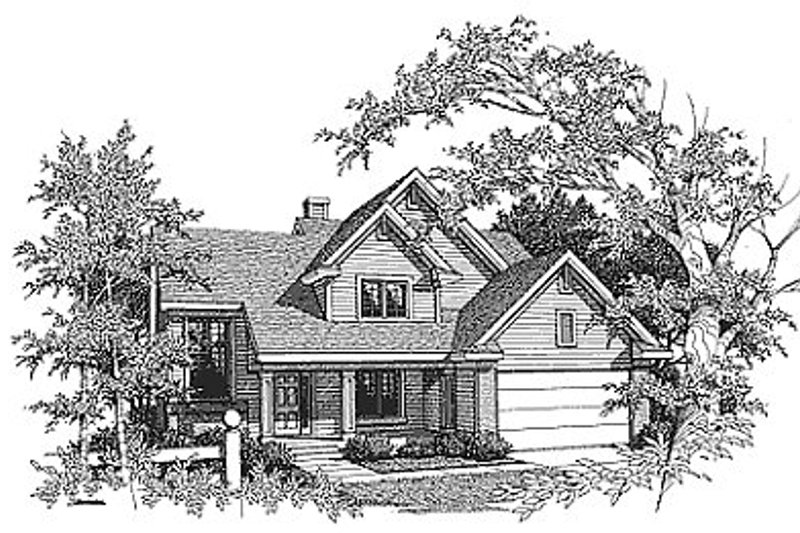 Traditional Style House Plan - 3 Beds 2.5 Baths 2031 Sq/Ft Plan #70-285 Exterior - Front Elevation
