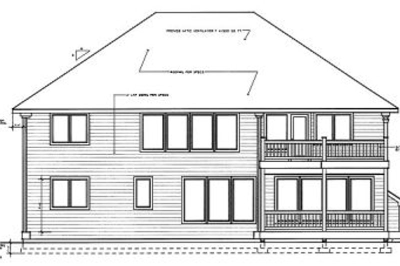 Colonial Exterior - Rear Elevation Plan #94-218 - Houseplans.com