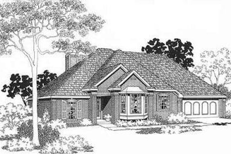 Traditional Style House Plan - 3 Beds 2 Baths 1452 Sq/Ft Plan #310-122 Exterior - Front Elevation