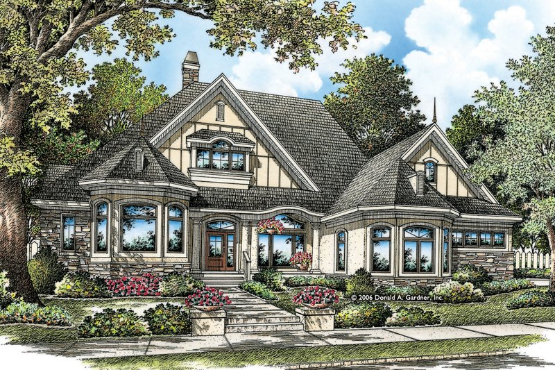 European Exterior - Front Elevation Plan #929-21 - Houseplans.com