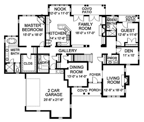 Traditional Floor Plan - Main Floor Plan Plan #490-10