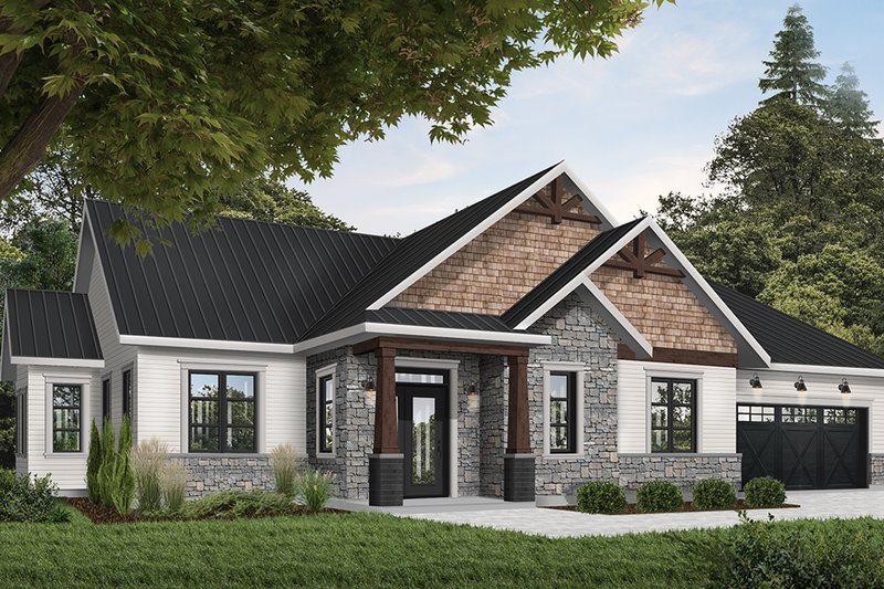 Ranch Style House Plan - 3 Beds 2 Baths 1859 Sq/Ft Plan #23-2658 Exterior - Front Elevation