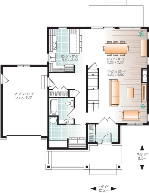 Craftsman Style House Plan - 4 Beds 3 Baths 2038 Sq/Ft Plan #23-2659 Floor Plan - Main Floor Plan