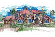 European Style House Plan - 5 Beds 5.5 Baths 7058 Sq/Ft Plan #135-140 Exterior - Front Elevation