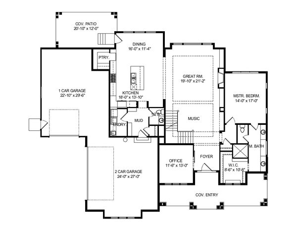 Craftsman Floor Plan - Main Floor Plan Plan #920-102