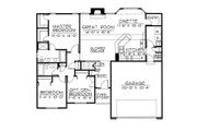 Traditional Style House Plan - 3 Beds 2 Baths 1466 Sq/Ft Plan #20-2050 Floor Plan - Main Floor