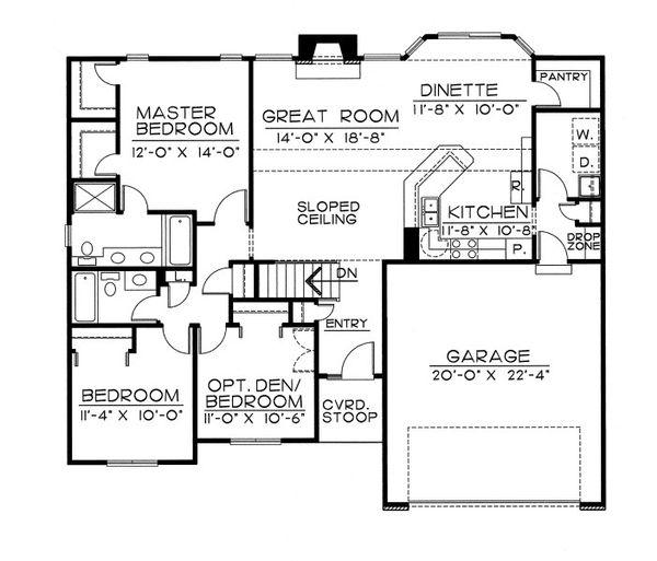 Traditional Floor Plan - Main Floor Plan #20-2050