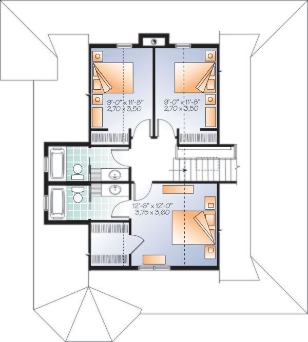 Cottage Floor Plan - Upper Floor Plan Plan #23-2701