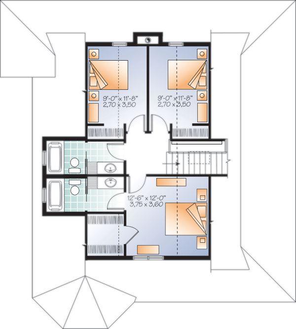 Architectural House Design - Cottage Floor Plan - Upper Floor Plan #23-2701