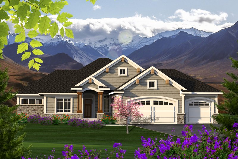 Ranch Style House Plan - 2 Beds 2 Baths 1709 Sq/Ft Plan #70-1208 Exterior - Front Elevation