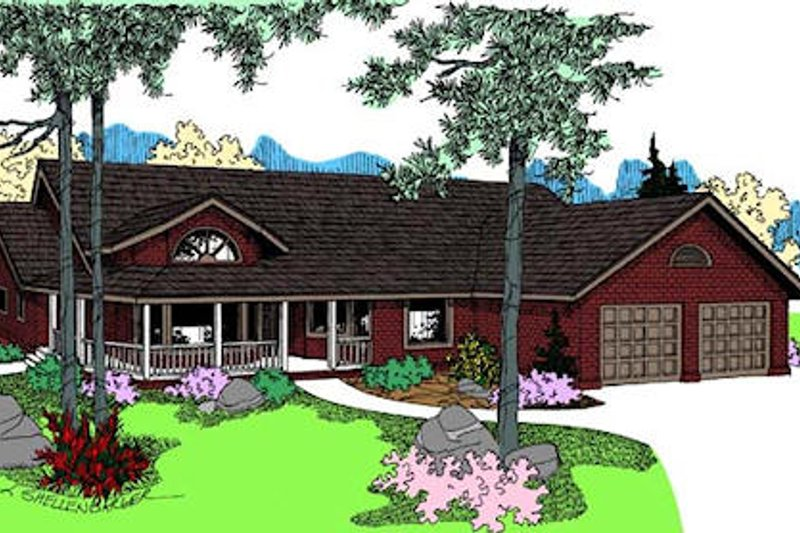 Country Exterior - Front Elevation Plan #60-648