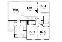 Craftsman Floor Plan - Upper Floor Plan Plan #20-2289