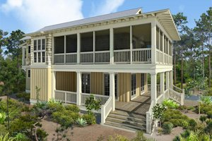 Beach Exterior - Front Elevation Plan #443-16