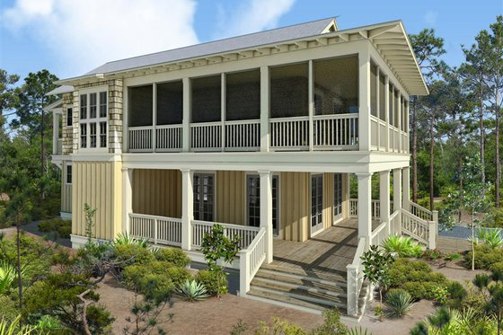Beach Exterior - Front Elevation Plan #443-16