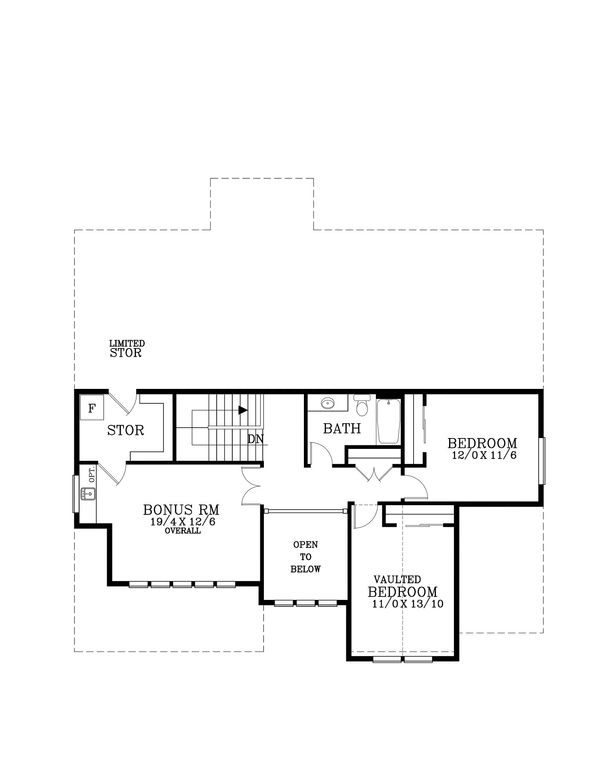 Traditional Floor Plan - Upper Floor Plan Plan #53-615