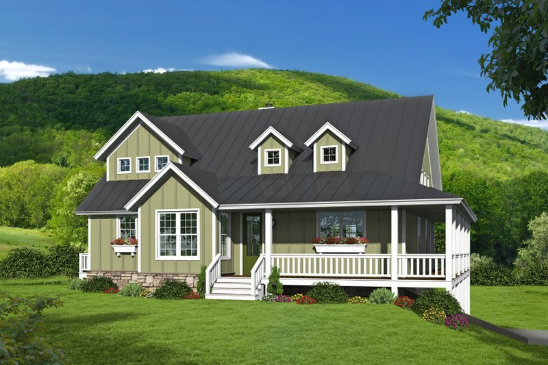 Farmhouse Style House Plan - 3 Beds 2 Baths 2200 Sq/Ft Plan #932-34 Exterior - Front Elevation