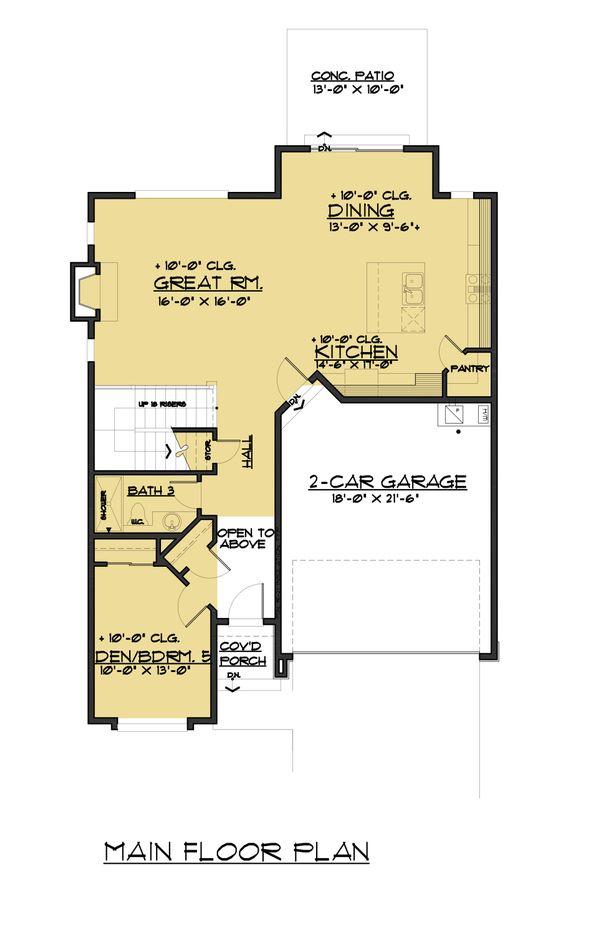 Colonial Floor Plan - Main Floor Plan Plan #1066-77
