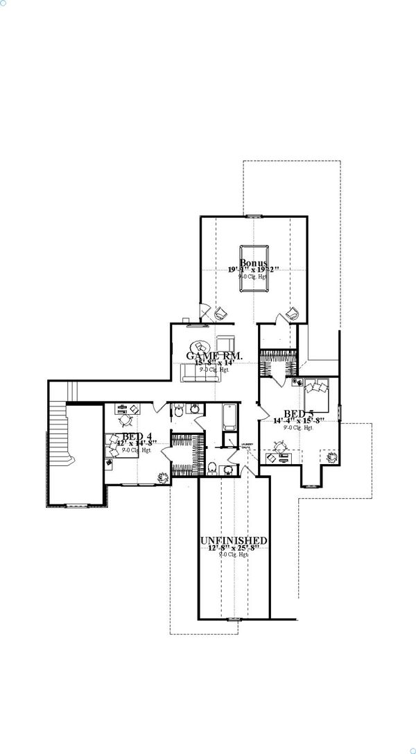 Craftsman Floor Plan - Upper Floor Plan Plan #63-392