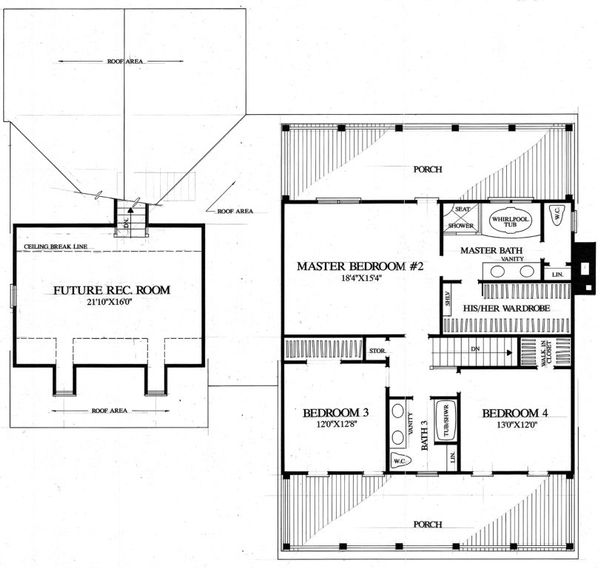 Southern Floor Plan - Upper Floor Plan Plan #137-275