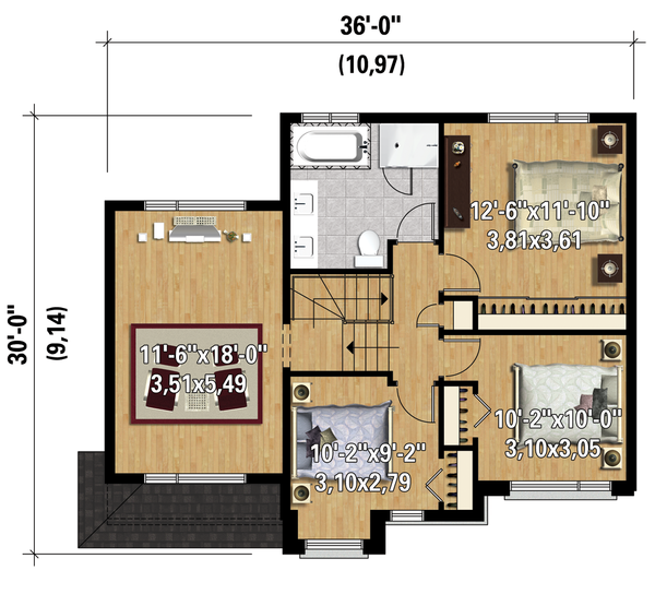 Contemporary Floor Plan - Upper Floor Plan Plan #25-4281