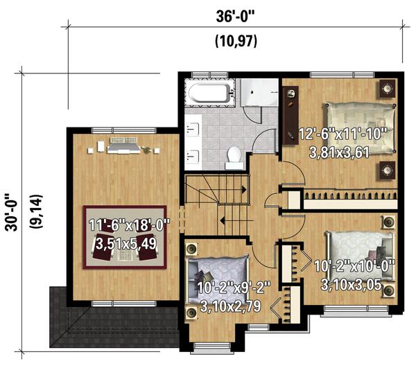 House Plan Design - Contemporary Floor Plan - Upper Floor Plan #25-4281