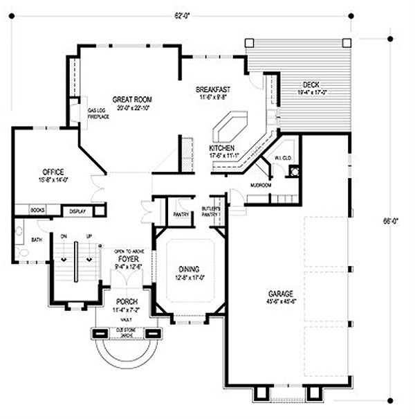 European Floor Plan - Main Floor Plan Plan #56-602