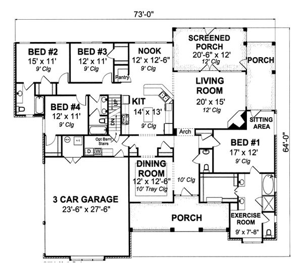 Traditional Floor Plan - Main Floor Plan Plan #513-2045
