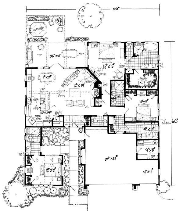 Cottage Style House Plan - 3 Beds 3.5 Baths 2090 Sq/Ft Plan #942-42 Floor Plan - Main Floor Plan