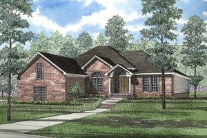 European Exterior - Front Elevation Plan #17-1021