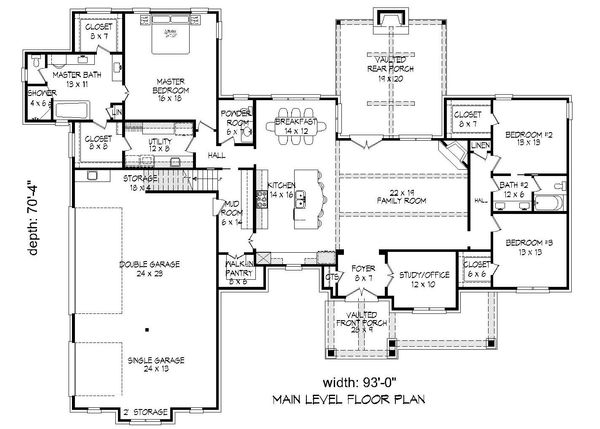 Country Floor Plan - Main Floor Plan Plan #932-94
