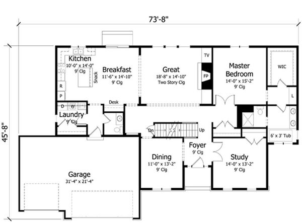 Craftsman Floor Plan - Main Floor Plan Plan #51-386