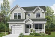Traditional Style House Plan - 2 Beds 2.5 Baths 1167 Sq/Ft Plan #57-353 Exterior - Front Elevation