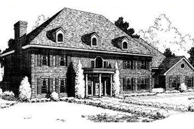 Southern Style House Plan - 4 Beds 3.5 Baths 5100 Sq/Ft Plan #310-171 Exterior - Front Elevation