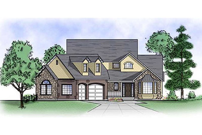 Country Style House Plan - 5 Beds 4 Baths 2260 Sq/Ft Plan #5-367 Exterior - Front Elevation