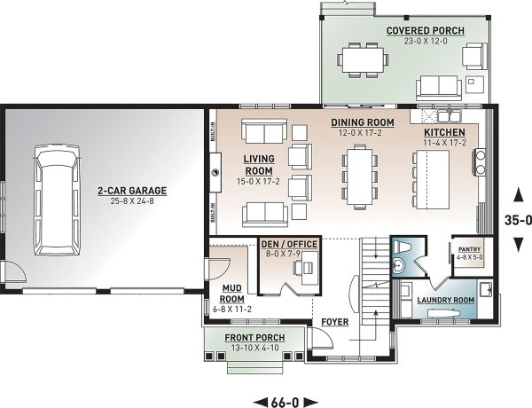 Craftsman Floor Plan - Main Floor Plan Plan #23-2724