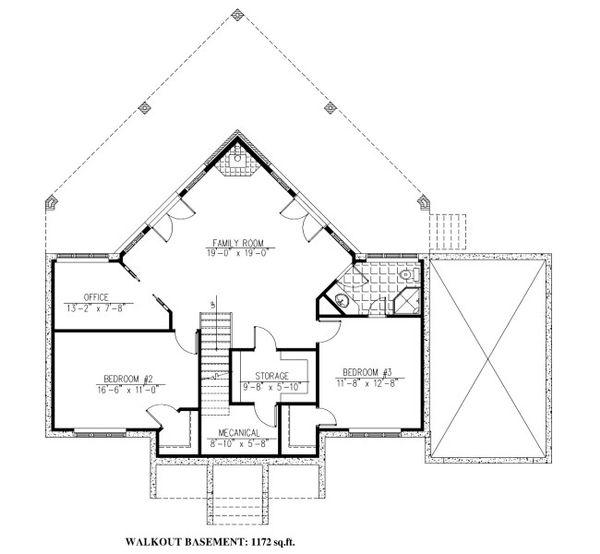 Cabin Floor Plan - Lower Floor Plan Plan #138-349
