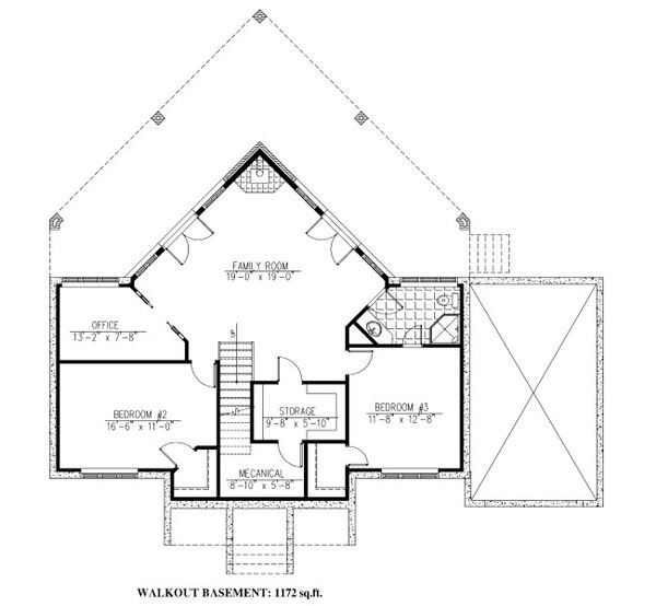 Cabin Floor Plan - Lower Floor Plan Plan #138-349