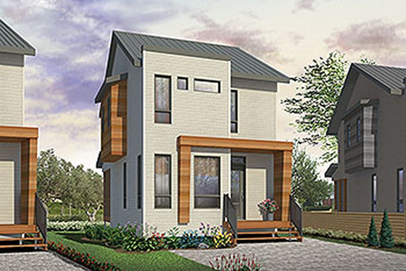 Contemporary Style House Plan - 3 Beds 1.5 Baths 1210 Sq/Ft Plan #23-2612 Exterior - Front Elevation