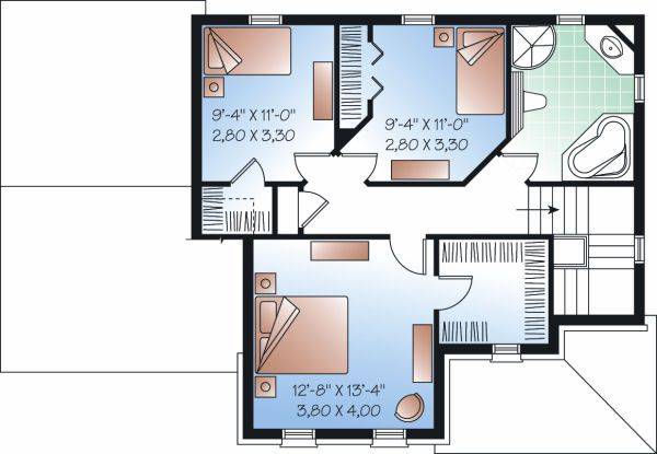 Traditional Floor Plan - Upper Floor Plan Plan #23-846