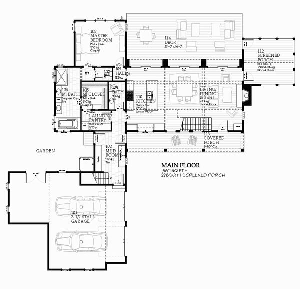 Farmhouse style, country design house plan, main level floor plan