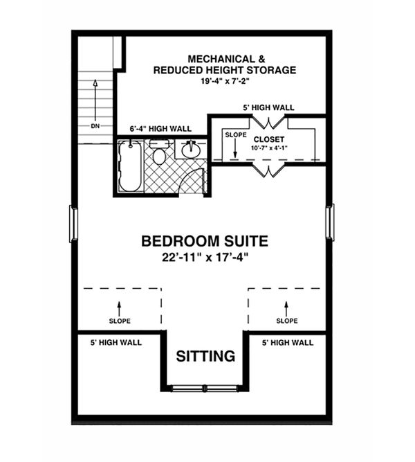 Craftsman Floor Plan - Upper Floor Plan Plan #56-613