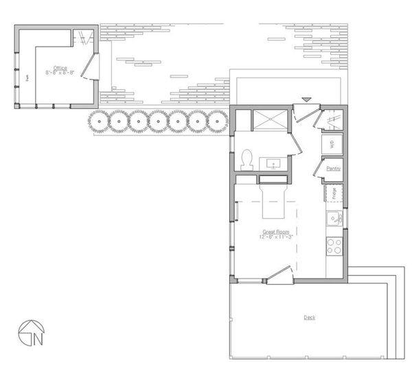 Modern Style House Plan - 1 Beds 1 Baths 610 Sq/Ft Plan #914-4 Floor Plan - Main Floor Plan