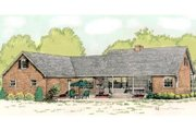 Country Style House Plan - 3 Beds 2.5 Baths 2034 Sq/Ft Plan #406-139 Exterior - Rear Elevation