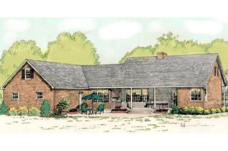 Country Exterior - Rear Elevation Plan #406-139 - Houseplans.com